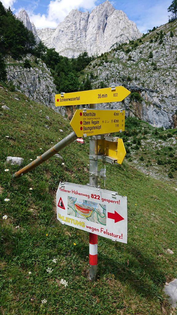 Umleitung wegen Felssturz, Foto: Walter Würtl I LO.LA Alpine Safety Management