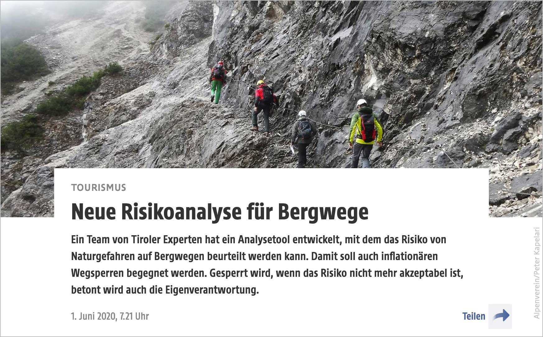 Neue Risikoanalyse für Bergwege, Presseartikel | LO.LA Alpine Safety Management