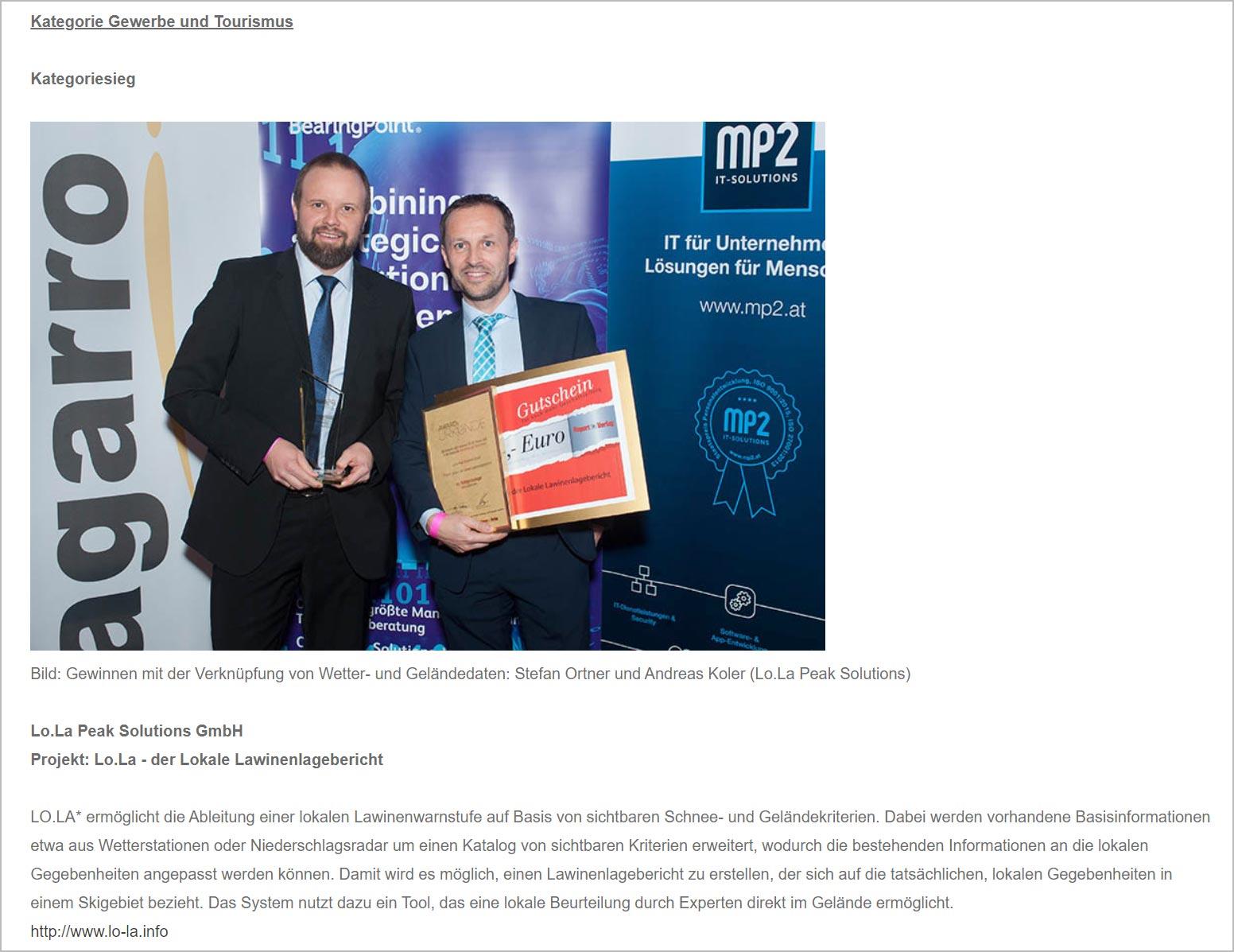 eAward 2019, Presseartikel | LO.LA Alpine Safety Management